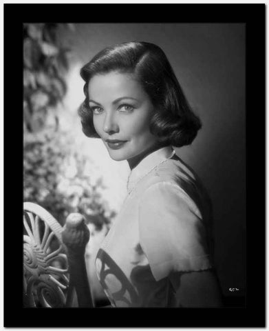 Gene Tierney Portrait in White Fence High Quality Photo
