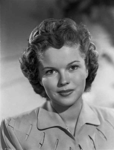 Shirley Temple wearing a Shirtdress in a Close Up Portrait Premium Art Print