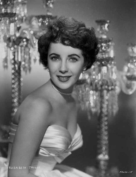 Elizabeth Taylor smiling in Formal Tube Gown Premium Art Print