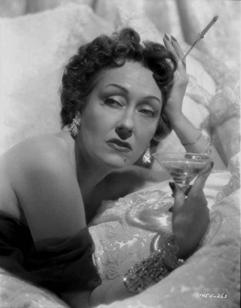 Gloria Swanson Posed Holding Glass of Wine Premium Art Print