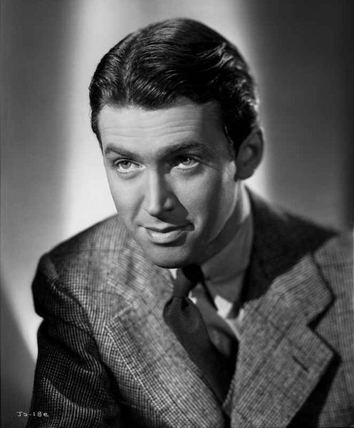 James Stewart Posed in Grey Corduroy Suit and Black Silk Necktie with Eyes Looking Up Premium Art Print