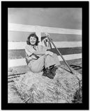 Barbara Stanwyck sitting in Hay Stack Classic Portrait High Quality Photo