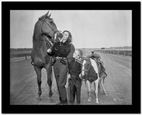 Barbara Stanwyck Bonding with Horses Classic Portrait High Quality Photo