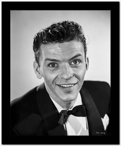 Frank Sinatra Looking Up, smiling in Black Suit High Quality Photo