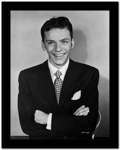 Frank Sinatra with Arms Crossed in Black Suit High Quality Photo