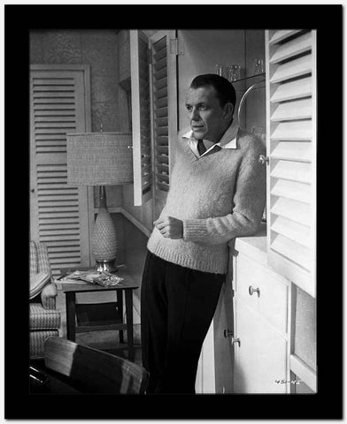 Frank Sinatra Leaning on Cabinet in Sweater High Quality Photo