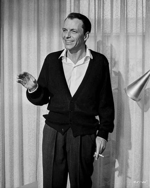 Frank Sinatra Waving and smiling with Cigarette on Hand Premium Art Print