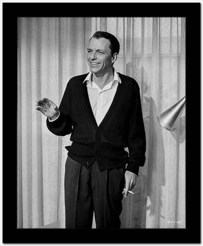 Frank Sinatra Waving and smiling with Cigarette on Hand High Quality Photo