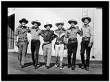Roy Rogers posed with Men in Black and White High Quality Photo