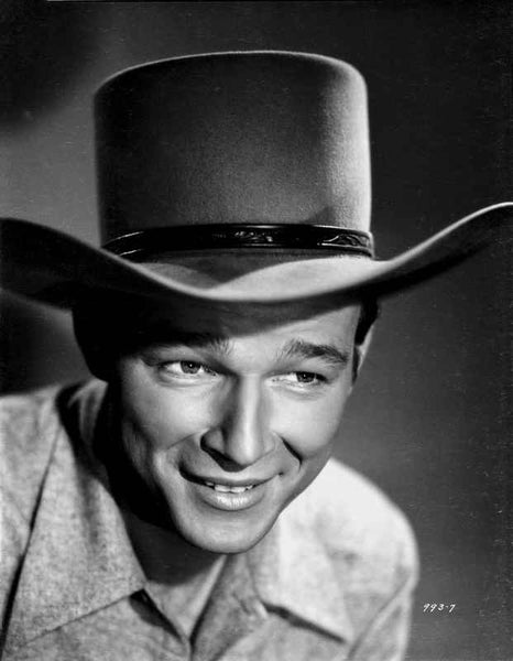 Roy Rogers smiling in Shirt and Cowboy Hat Premium Art Print
