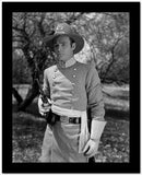 Roy Rogers posed with Gun in Black and White High Quality Photo