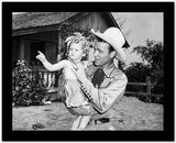 Roy Rogers Holding a Little Girl in Black and White High Quality Photo