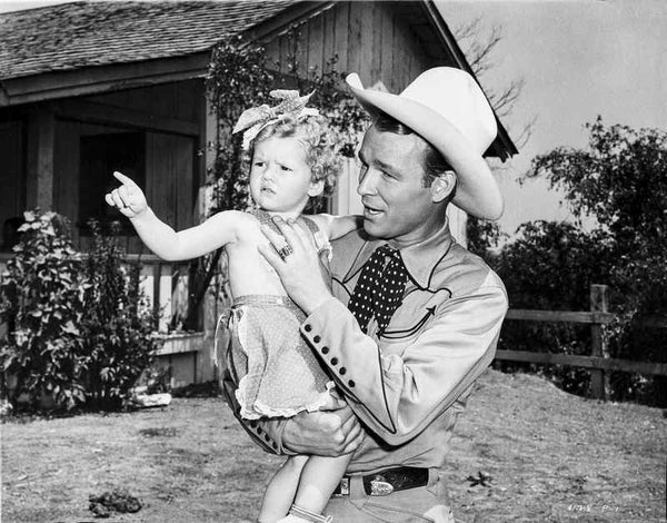 Roy Rogers Holding a Little Girl in Black and White Premium Art Print