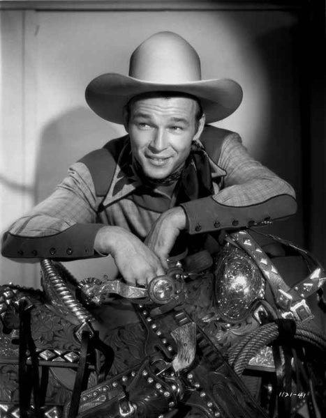 Roy Rogers smiling in Cowboy Outfit Premium Art Print
