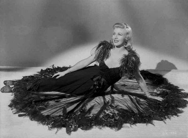 Ginger Rogers Posed wearing Black Feather Gown Premium Art Print