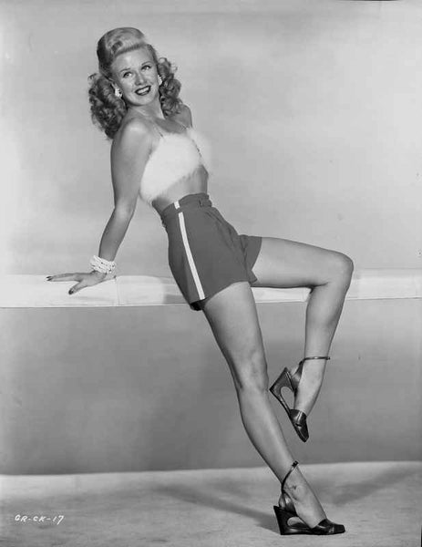 Ginger Rogers smiling in Mini Skirt with High Heels Premium Art Print