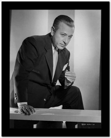 George Raft on the Table in Black Coat and Tie High Quality Photo