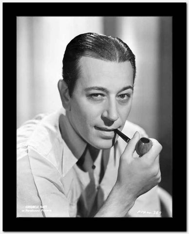 George Raft Posed with Smoking Pipe High Quality Photo