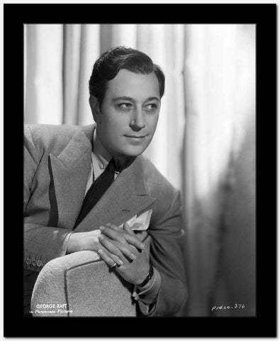 George Raft Leaning on Couch in Formal Outfit Side View Angle High Quality Photo