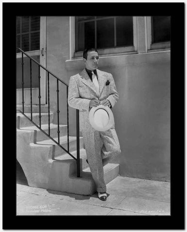 George Raft Leaning on Stair Railing in Formal Outfit With Hat Portrait High Quality Photo