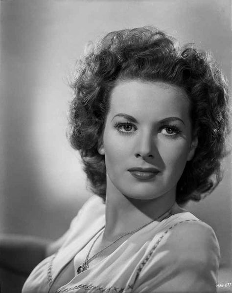 Maureen O'Hara Close Up Portrait wearing Printed Blouse Premium Art Print