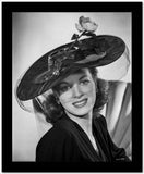 Maureen O'Hara Posed in Black Dress With Hat High Quality Photo