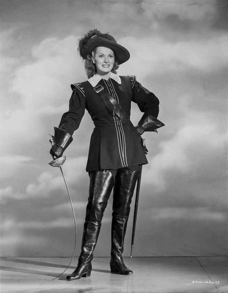 Maureen O'Hara in Black Fencing Outfit Portrait Premium Art Print