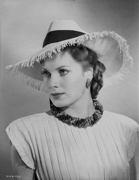 Maureen O'Hara in White Gown With Hat Portrait Premium Art Print