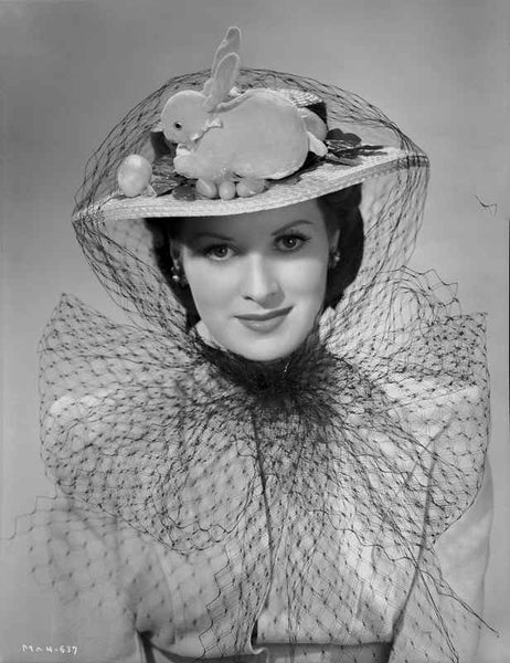 Maureen O'Hara Close Up Portrait wearing Veil with Rabbit on Top Premium Art Print