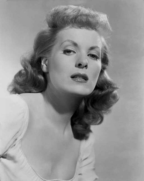 Maureen O'Hara Close Up Portrait wearing White Blouse in Black and White Premium Art Print