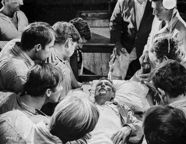 Paul Newman Dying With Group of People Black and White Premium Art Print