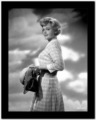 Angela Lansbury Looking Away wearing a Checkered Dress Holding a Hat High Quality Photo