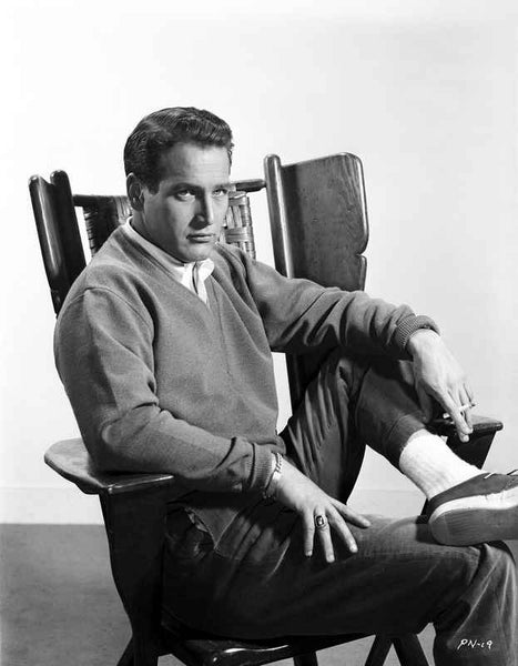 Paul Newman Siting on Chair in Formal Outfit Black and White Premium Art Print