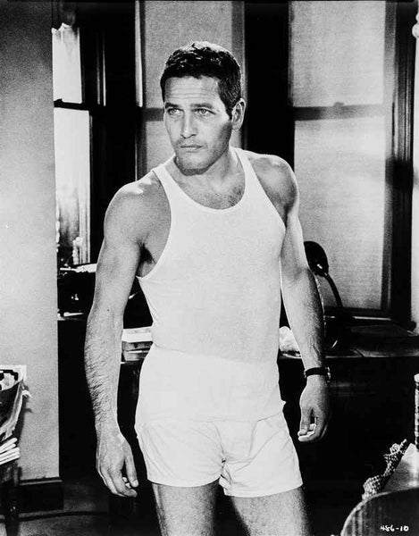 Paul Newman in Gym Outfit Black and White Premium Art Print