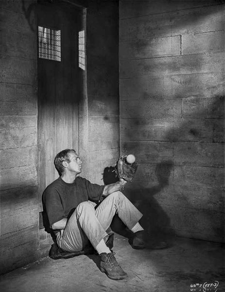 Steve McQueen sitting at the Corner Scene Excerpt from Film in Black and White Premium Art Print