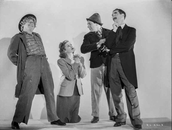 Marx Brothers Scene with a Girl Kneeling on Guys Premium Art Print