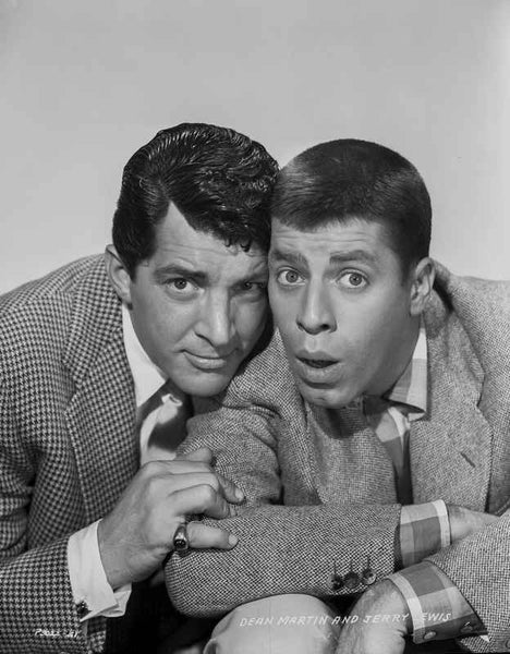Dean Martin and Jerry Lewis Wacky Pose in Black and White Premium Art Print