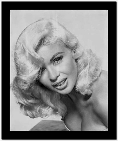 Jayne Mansfield Close Up Portrait in White Strapless Dress with Curly Hair in White Background High Quality Photo