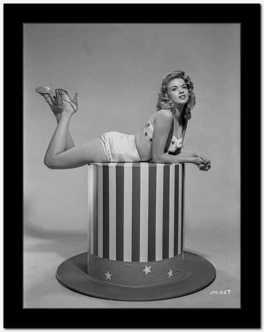 Jayne Mansfield Lain on a Stripe Table in White Silk Two Piece with Hands Together High Quality Photo