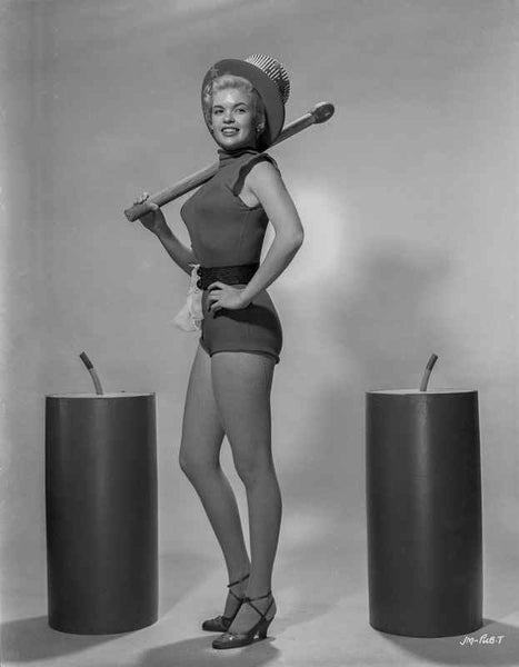 Jayne Mansfield Posed in Black Linen One Piece Sleeveless Sexy Suit and Top Hat with Left Hand on the Waist Premium Art Print