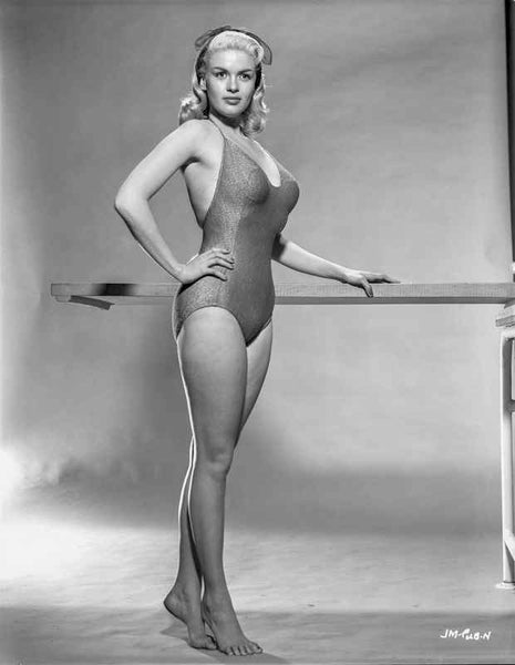 Jayne Mansfield Posed in Black V-Neck Halter Top One Piece Tweed Swimsuit with Legs Crossed and Left Hand on the Waist Premium Art Print