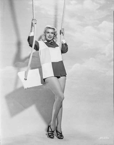 Jayne Mansfield Posed and Stood on the Swing in Two Tone Long Sleeve Shirt and Black High Heel Sandals Premium Art Print