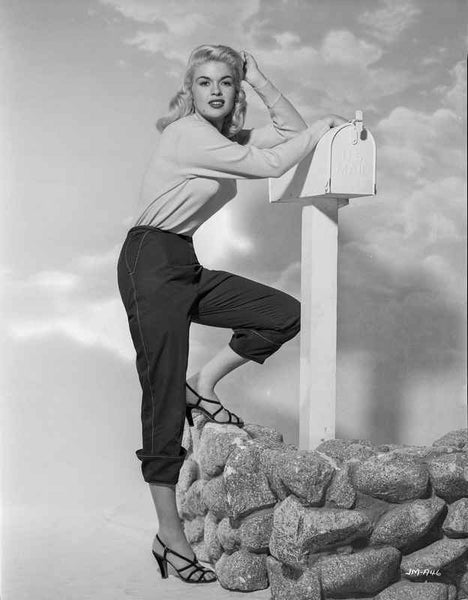 Jayne Mansfield Posed in White Tucked-On Long Sleeve Shirt while Leaning on the Mailbox Premium Art Print