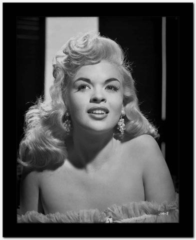 Jayne Mansfield Close up Portrait in White Ruffle Silk Shoulder Dress and Dangling Earrings with Eyes Looking to the Left High Quality Photo