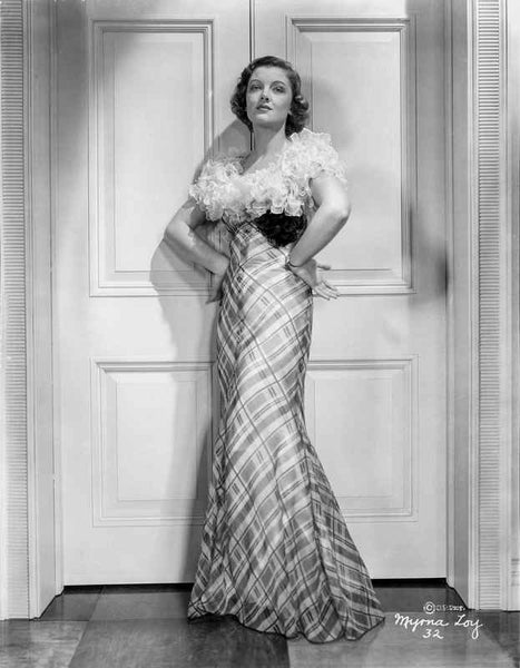 Myrna Loy in Elegant Gown in Black and White Premium Art Print