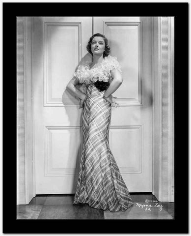 Myrna Loy in Elegant Gown in Black and White High Quality Photo
