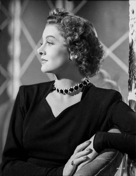 Myrna Loy Looking Away in Black and White with Necklace and Earrings Premium Art Print
