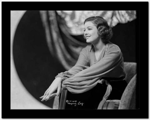 Myrna Loy Holding Hands in Black and White High Quality Photo
