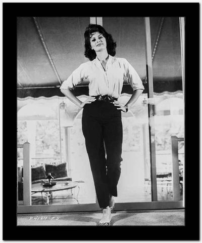 Sophia Loren wearing a Wrap Tunic Top and a Black Pants in a Portrait High Quality Photo