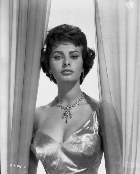 Sophia Loren wearing a Glossy Single Shoulder Dress in a Classic Portrait Premium Art Print